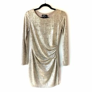 LULU'S Gold Shimmer Ruched Body Con Dress Sz M